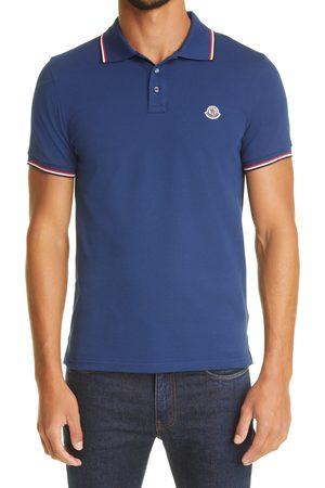 Moncler Men's Logo Patch Tipped Cotton Pique Polo