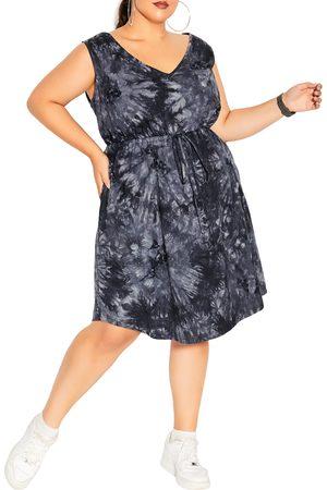 City Chic Plus Size Women's Tie Dye Sleeveless Cotton Dress
