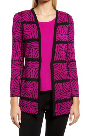 Ming Wang Women Blazers - Women's Animal Print Knit Jacket