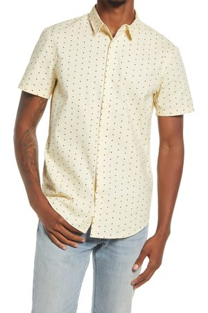BP. Men's Slim Fit Dot Stretch Cotton Short Sleeve Button-Up Shirt