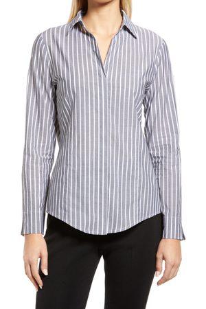 Ming Wang Women's Stripe Button Front Cotton Shirt
