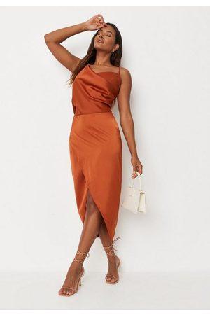 Missguided Rust Satin Drape Asymmetric Strap Midi Dress