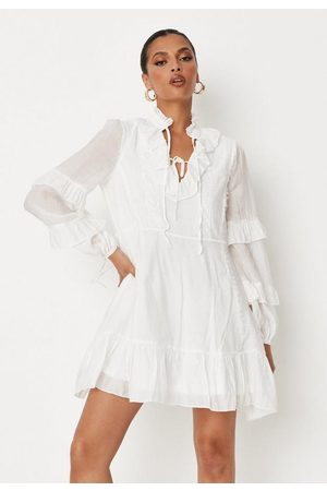 Missguided Frill Sleeve Lace Detail Dress