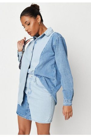 Missguided Co Ord Diagonal Splice Denim Mini Skirt