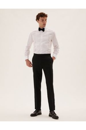 M&S Collection Men Formal Pants - Tailored Fit Wool Tuxedo Trousers