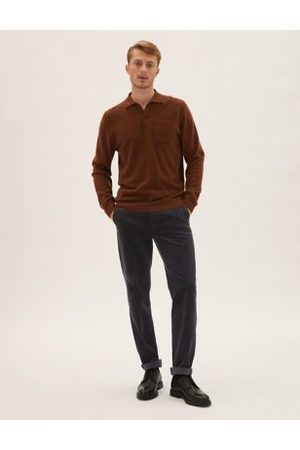 M&S Collection Men Stretch Pants - Regular Fit Luxury Corduroy Stretch Trousers