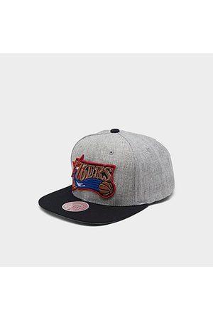 Mitchell And Ness Mitchell & Ness Philadelphia 76ers NBA Heathered Grey Hardwood Classics Pop Snapback Hat Acrylic/Wool