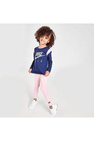 Nike Girls' Little Kids' Air Colorblock Crewneck Sweatshirt and Leggings Set in / /Pale Size 4 Cotton/Polyester/Knit