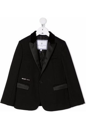 Philipp Plein Junior Boys Blazers - Logo-printed tuxedo blazer