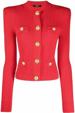 Balmain Structured shoulder ribbed-knit cardigan