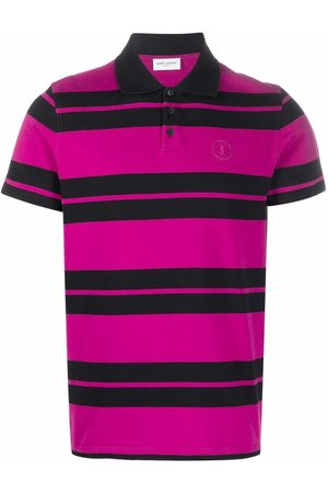 Saint Laurent Men Polo Shirts - Embroidered-logo polo shirt