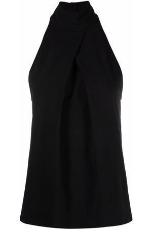 Pinko Women Halterneck Tops - Crossover-effect halterneck blouse