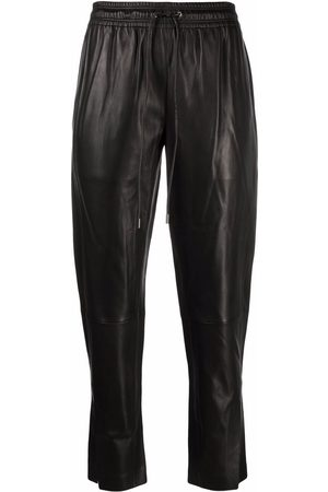 THEORY Ankle-slit leather joggers