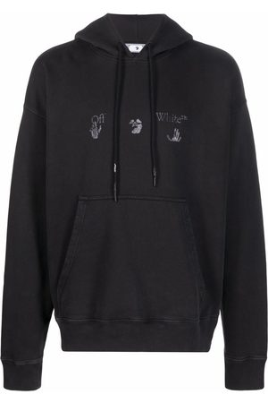 OFF-WHITE Faded logo-print relaxed hoodie