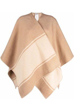 Fendi Women Ponchos & Capes - Stripe detail logo cape - Neutrals