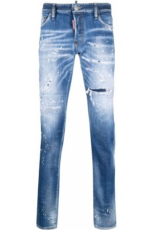 Dsquared2 Faded paint-splattered jeans