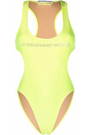 Alexander Wang Crystal embellished logo swimsuit
