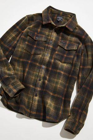 Dark Seas Men Fleece Jackets - Printed Plaid Sherpa Shirt Jacket