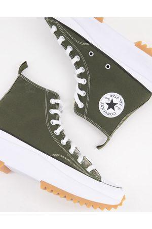 Converse Run Star Hike Hi canvas platform sneakers in cargo khaki