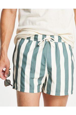 ASOS DESIGN Swim trunks in mint green stripe in short length-Multi