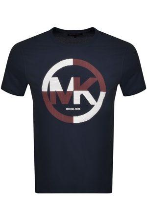 Michael Kors Short Sleeve Stripe Logo T Shirt Navy