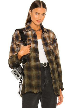 Free People Anneli Plaid Shirt Jacket in ,Olive.