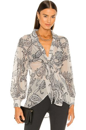 LINE & DOT Isabel Paisley Print Tie Blouse in Ivory.