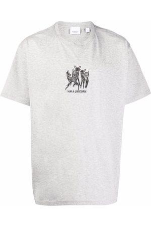 Burberry Men Short Sleeve - Unicorn-embroidered short-sleeve T-shirt - Grey