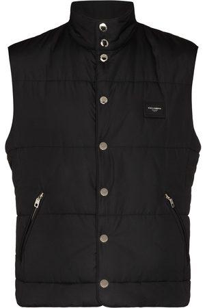 Dolce & Gabbana Men Gilets - Logo-patch padded gilet