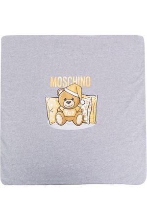 Moschino Kids Sleeping teddy bear blanket - Grey