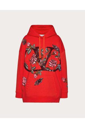 VALENTINO Women Sweatshirts - Embroidered Jersey Sweatshirt Women Natural 100% Cotton L