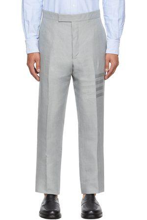 Thom Browne Men Pants - Grey Linen Engineered 4-Bar Trousers