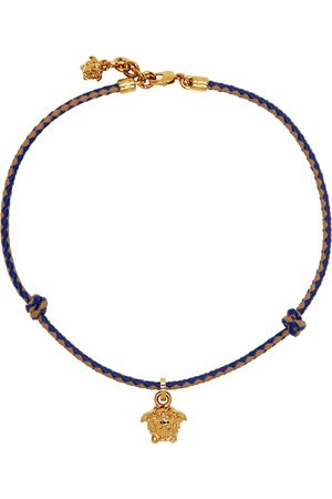 Versace Blue & Brown Braided Medusa Necklace