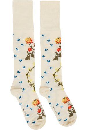 Simone Rocha Beige Creeping Flower Jacquard Socks