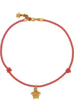 Versace Red & Pink Braided Medusa Necklace