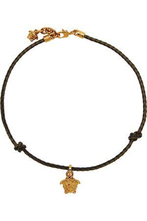 VERSACE Black & Brown Braided Medusa Necklace