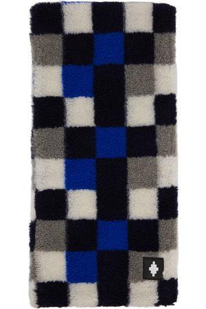 Marcelo Burlon County of Milan Blue & Grey Wool Checkerboard Scarf