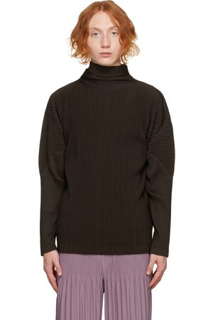 Homme Plissé Issey Miyake Men Turtlenecks - Brown Color Pleats Turtleneck