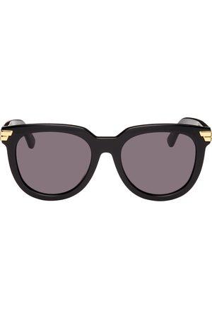 Bottega Veneta Black Acetate Round Sunglasses