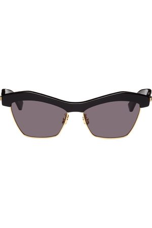 Bottega Veneta Black Geometric Cat-Eye Sunglasses