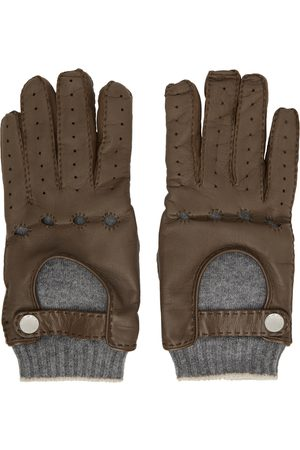 Brunello Cucinelli Brown Leather & Cashmere Gloves