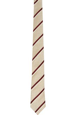 Brunello Cucinelli Men Neckties - Beige & Burgundy Striped Tie