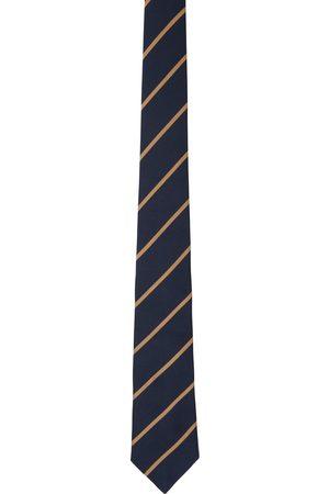 Brunello Cucinelli Navy & Tan Stripe Tie