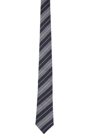Brunello Cucinelli Navy & Grey Silk Multistripe Tie