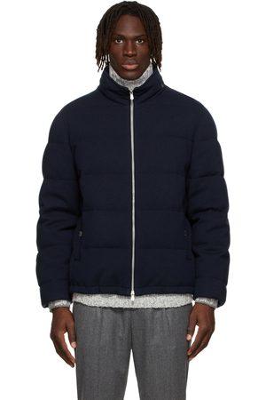 Brunello Cucinelli Navy Down & Cashmere Puffer Jacket