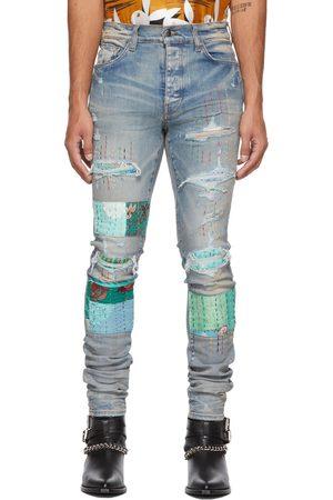 AMIRI Blue Vintage Quilt Art Patch Jeans