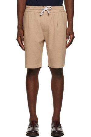 Brunello Cucinelli Men Bermudas - Tan Pleated Bermuda Shorts