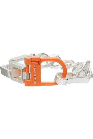 Heron Preston Men Bracelets - Silver & Orange New Multichain Bracelet