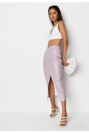 Missguided Lilac Faux Leather Split Front Skirt