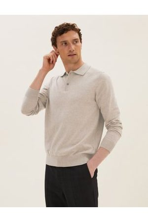 Marks & Spencer Men Polo Shirts - Cotton Long Sleeve Knitted Polo